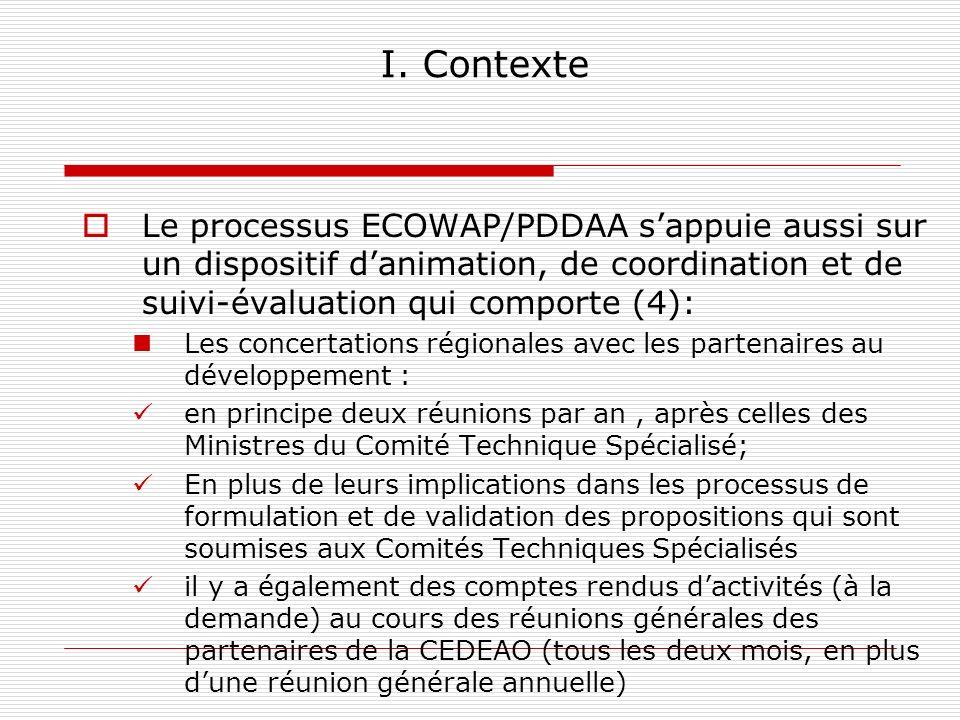 I. Contexte Le processus ECOWAP/PDDAA sappuie aussi sur un dispositif danimation, de coordination et de suivi-évaluation qui comporte (4): Les concert