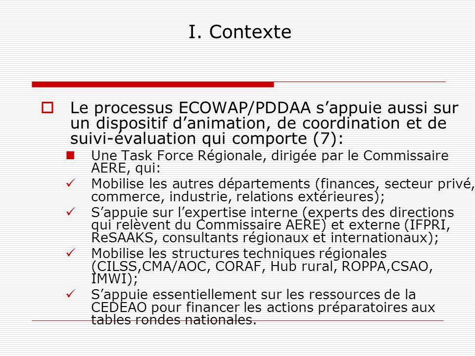 I. Contexte Le processus ECOWAP/PDDAA sappuie aussi sur un dispositif danimation, de coordination et de suivi-évaluation qui comporte (7): Une Task Fo