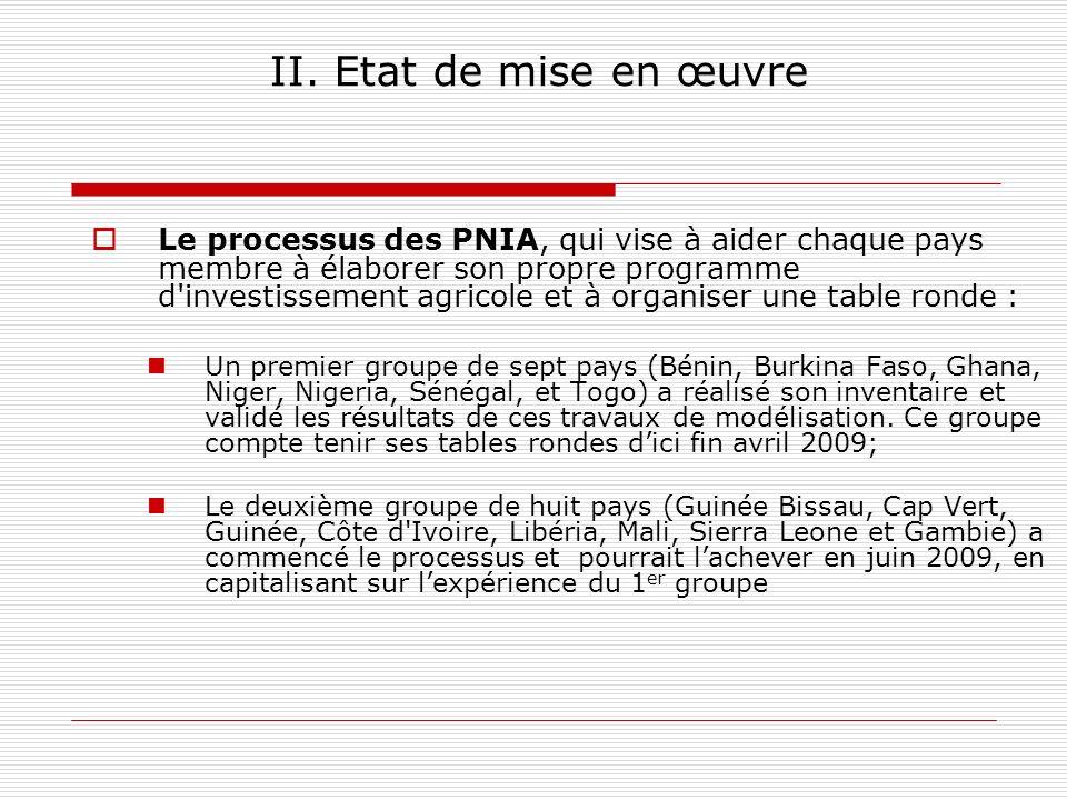 II. Etat de mise en œuvre Le processus des PNIA, qui vise à aider chaque pays membre à élaborer son propre programme d'investissement agricole et à or