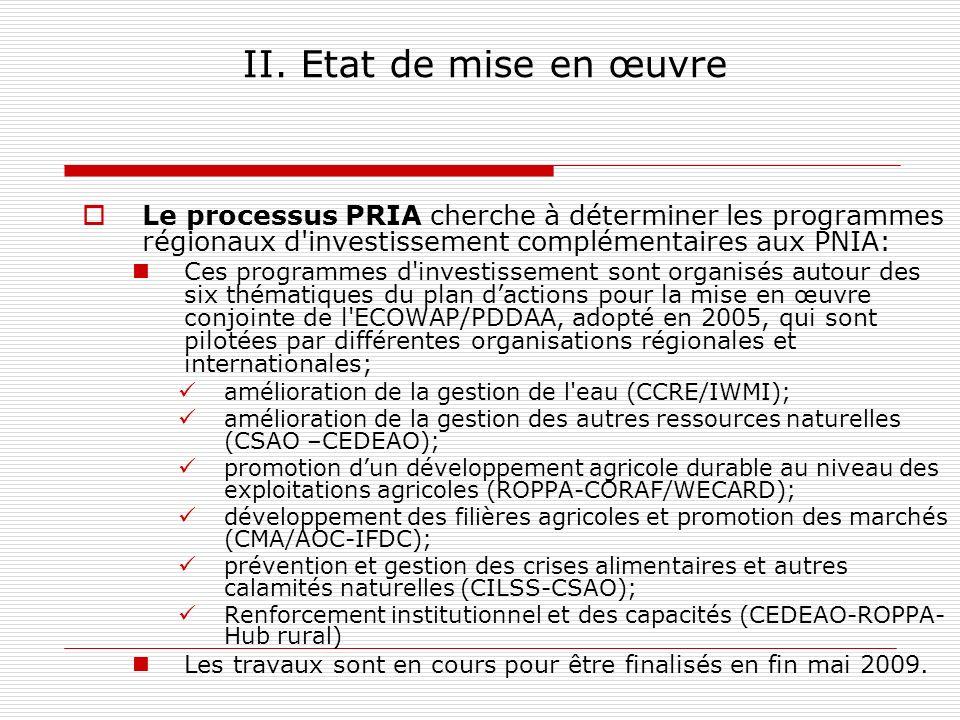 II. Etat de mise en œuvre Le processus PRIA cherche à déterminer les programmes régionaux d'investissement complémentaires aux PNIA: Ces programmes d'
