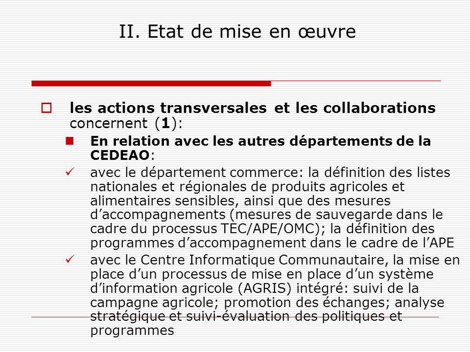 II. Etat de mise en œuvre les actions transversales et les collaborations concernent (1): En relation avec les autres départements de la CEDEAO: avec