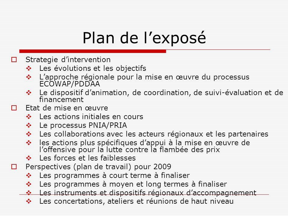 Plan de lexposé Strategie dintervention Les évolutions et les objectifs Lapproche régionale pour la mise en œuvre du processus ECOWAP/PDDAA Le disposi