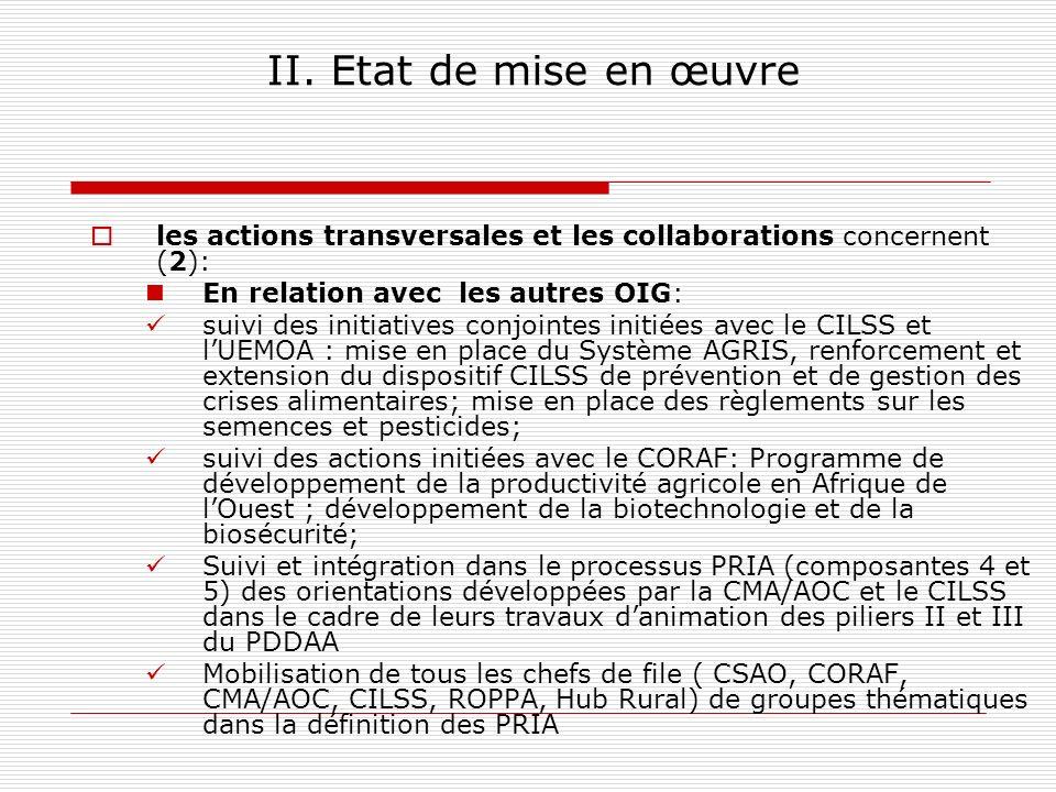 II. Etat de mise en œuvre les actions transversales et les collaborations concernent (2): En relation avec les autres OIG: suivi des initiatives conjo