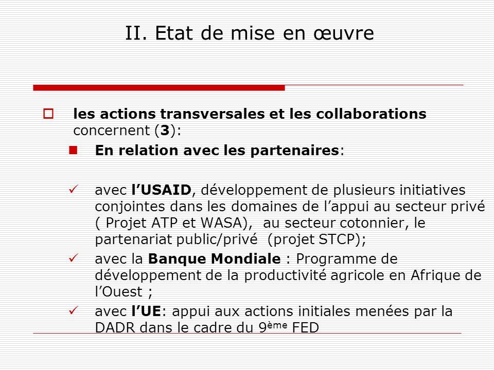 II. Etat de mise en œuvre les actions transversales et les collaborations concernent (3): En relation avec les partenaires: avec lUSAID, développement