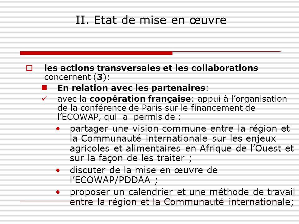 II. Etat de mise en œuvre les actions transversales et les collaborations concernent (3): En relation avec les partenaires: avec la coopération frança