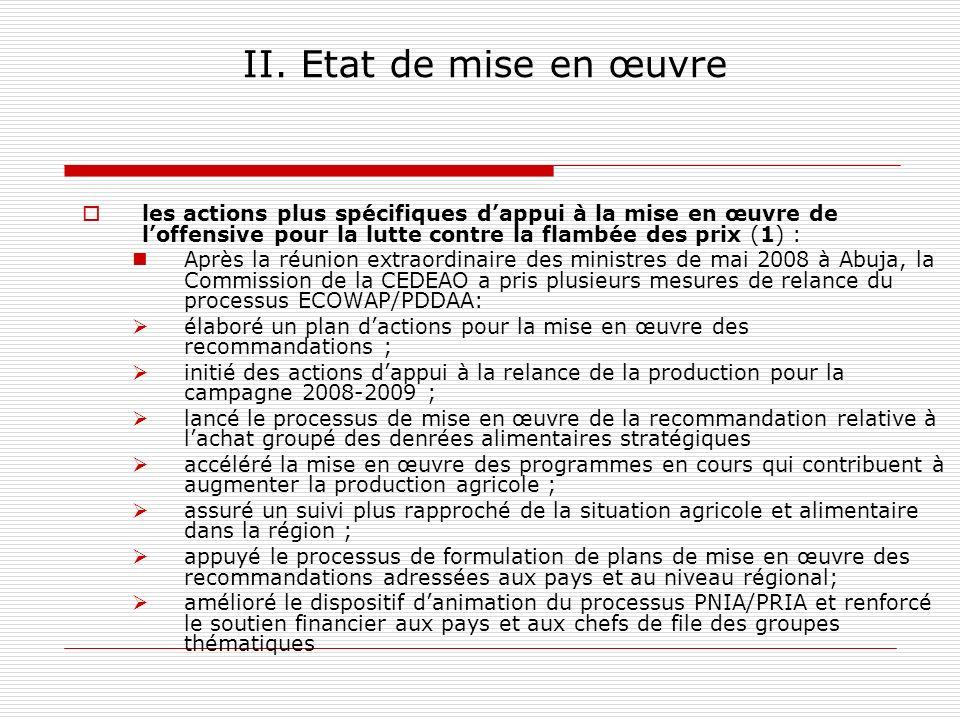 II. Etat de mise en œuvre les actions plus spécifiques dappui à la mise en œuvre de loffensive pour la lutte contre la flambée des prix (1) : Après la