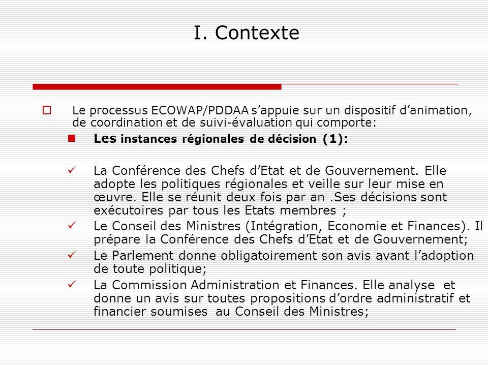 I. Contexte Le processus ECOWAP/PDDAA sappuie sur un dispositif danimation, de coordination et de suivi-évaluation qui comporte: Les instances régiona