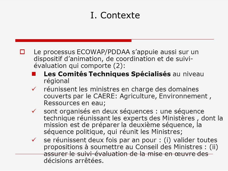 I. Contexte Le processus ECOWAP/PDDAA sappuie aussi sur un dispositif danimation, de coordination et de suivi- évaluation qui comporte (2): Les Comité