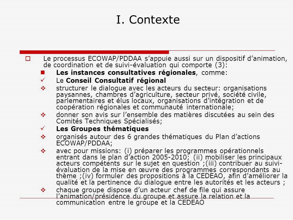 I. Contexte Le processus ECOWAP/PDDAA sappuie aussi sur un dispositif danimation, de coordination et de suivi-évaluation qui comporte (3): Les instanc