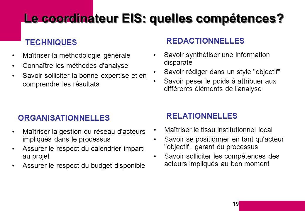 19 Le coordinateur EIS: quelles compétences.