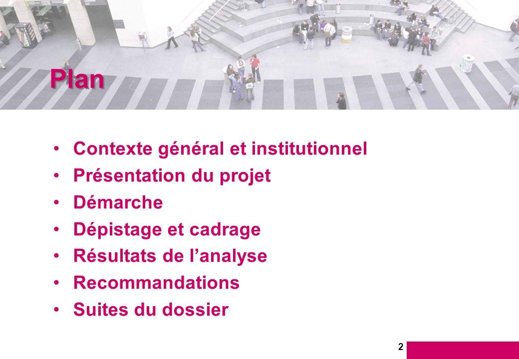 2 Contexte général et institutionnel Présentation du projet Démarche Dépistage et cadrage Résultats de lanalyse Recommandations Suites du dossier Plan