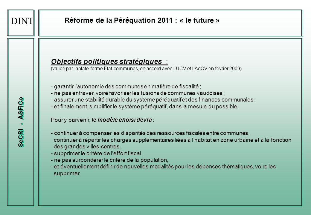 ASFiCo Réforme de la Péréquation 2011 : « bilan actuel » Points contestés de lactuelle Péréquation 2006 - lampleur de la facture sociale (CHF 640 mios en 2009); - le maintien artificiel dun taux élevé pour certaines communes vaudoises en raison du critère de leffort fiscal (taux dimposition); - limprévisibilité des acomptes et du décompte final; - le système ne favorise pas toujours les fusions de communes ; - il est difficilement compréhensible pour la majorité des acteurs.