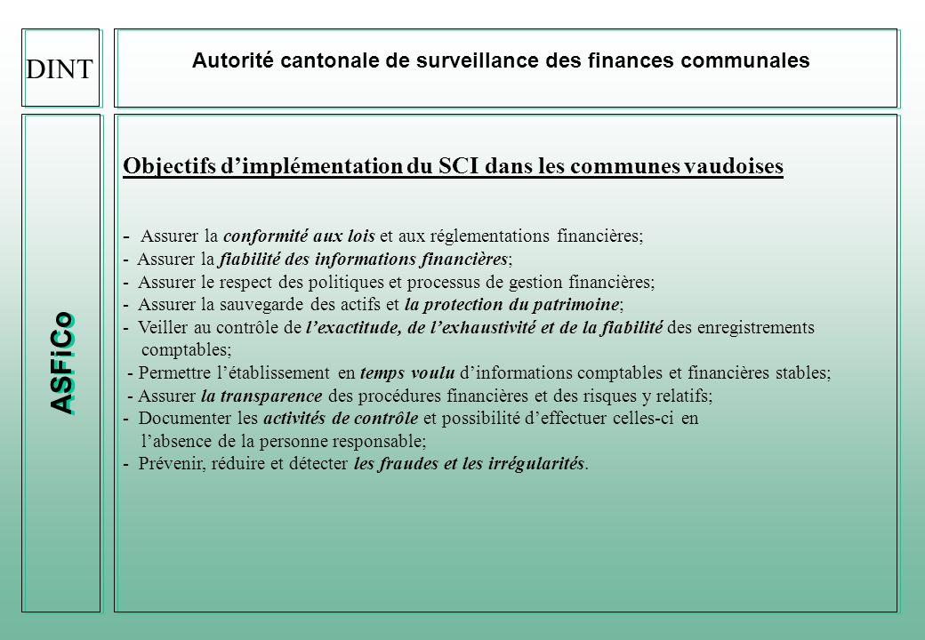 ASFiCo Autorité cantonale de surveillance des finances communales Contextes légales (après SOX de 2002, LSF de 2003, puis bientôt Solvency 2 en 2010) Obligation de disposer dun SCI (PME dune certaine taille) (art.