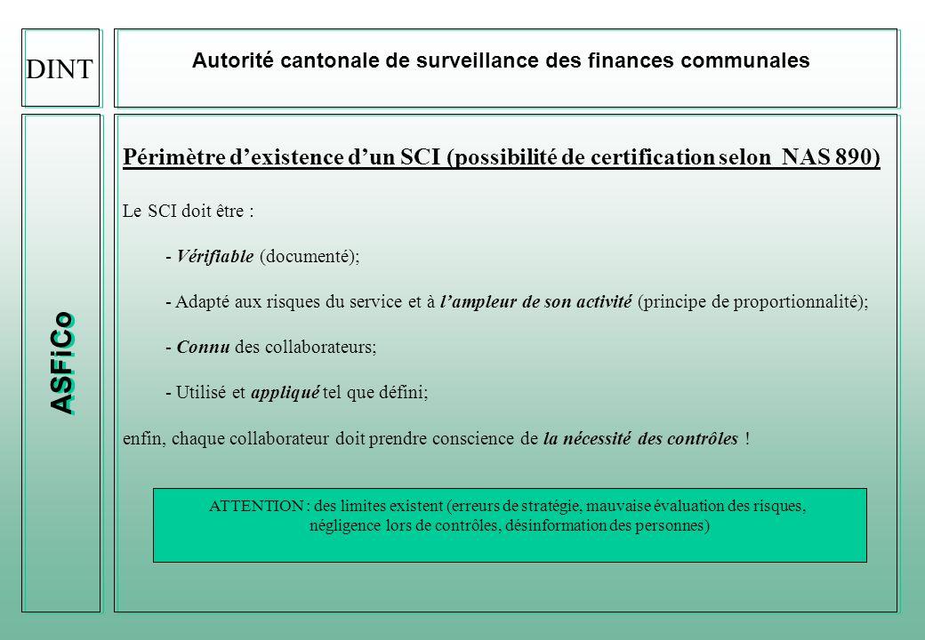 ASFiCo Autorité cantonale de surveillance des finances communales Objectifs dimplémentation du SCI dans les communes vaudoises - Assurer la conformité aux lois et aux réglementations financières; - Assurer la fiabilité des informations financières; - Assurer le respect des politiques et processus de gestion financières; - Assurer la sauvegarde des actifs et la protection du patrimoine; - Veiller au contrôle de lexactitude, de lexhaustivité et de la fiabilité des enregistrements comptables; - Permettre létablissement en temps voulu dinformations comptables et financières stables; - Assurer la transparence des procédures financières et des risques y relatifs; - Documenter les activités de contrôle et possibilité deffectuer celles-ci en labsence de la personne responsable; - Prévenir, réduire et détecter les fraudes et les irrégularités.
