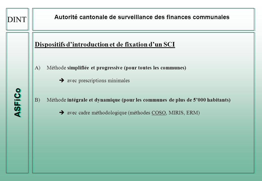 ASFiCo Autorité cantonale de surveillance des finances communales Responsabilités relatives au SCI Exécutif communal : responsabilité dans limplémentation, la mise en place et la supervision dun SCI.