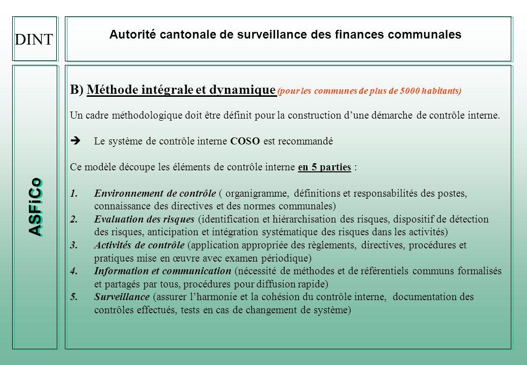 ASFiCo Autorité cantonale de surveillance des finances communales Exemple dun listage de SCI (processus comptables) DINT