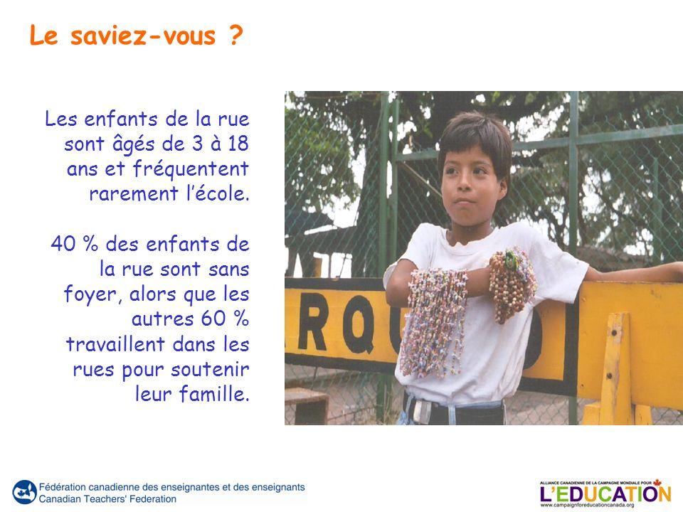 Les enfants de la rue sont âgés de 3 à 18 ans et fréquentent rarement lécole.