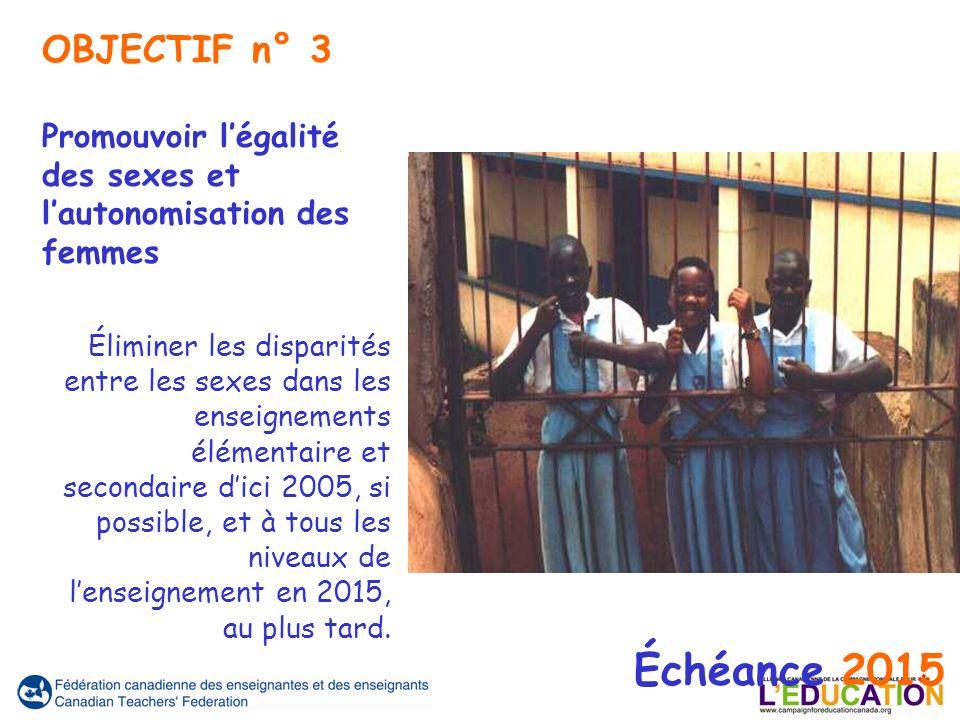Échéance 2015 Promouvoir légalité des sexes et lautonomisation des femmes Éliminer les disparités entre les sexes dans les enseignements élémentaire et secondaire dici 2005, si possible, et à tous les niveaux de lenseignement en 2015, au plus tard.