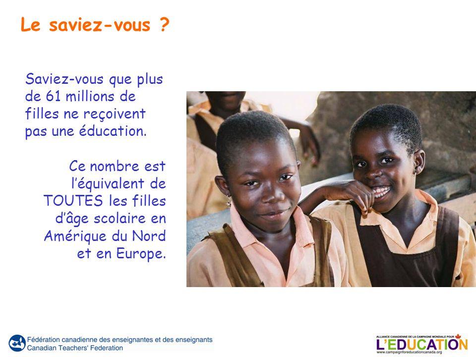 Saviez-vous que plus de 61 millions de filles ne reçoivent pas une éducation. Ce nombre est léquivalent de TOUTES les filles dâge scolaire en Amérique