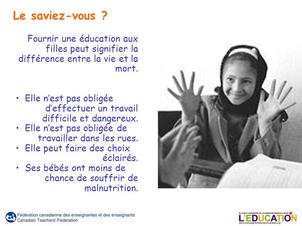 Fournir une éducation aux filles peut signifier la différence entre la vie et la mort.