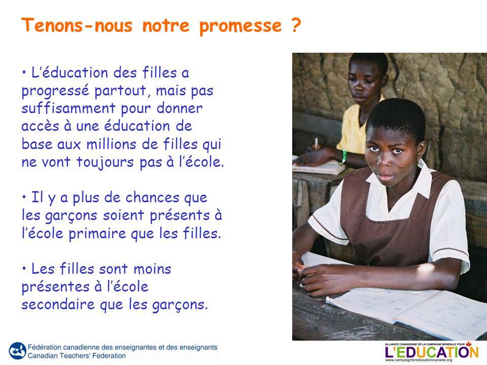 Léducation des filles a progressé partout, mais pas suffisamment pour donner accès à une éducation de base aux millions de filles qui ne vont toujours pas à lécole.