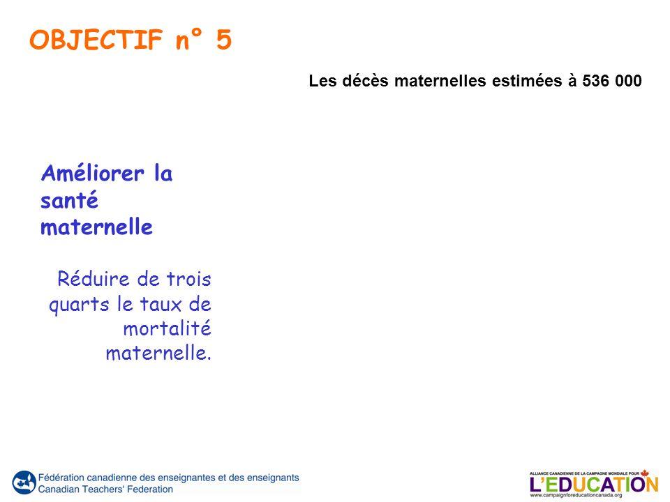 Améliorer la santé maternelle Réduire de trois quarts le taux de mortalité maternelle. Les décès maternelles estimées à 536 000 OBJECTIF n° 5