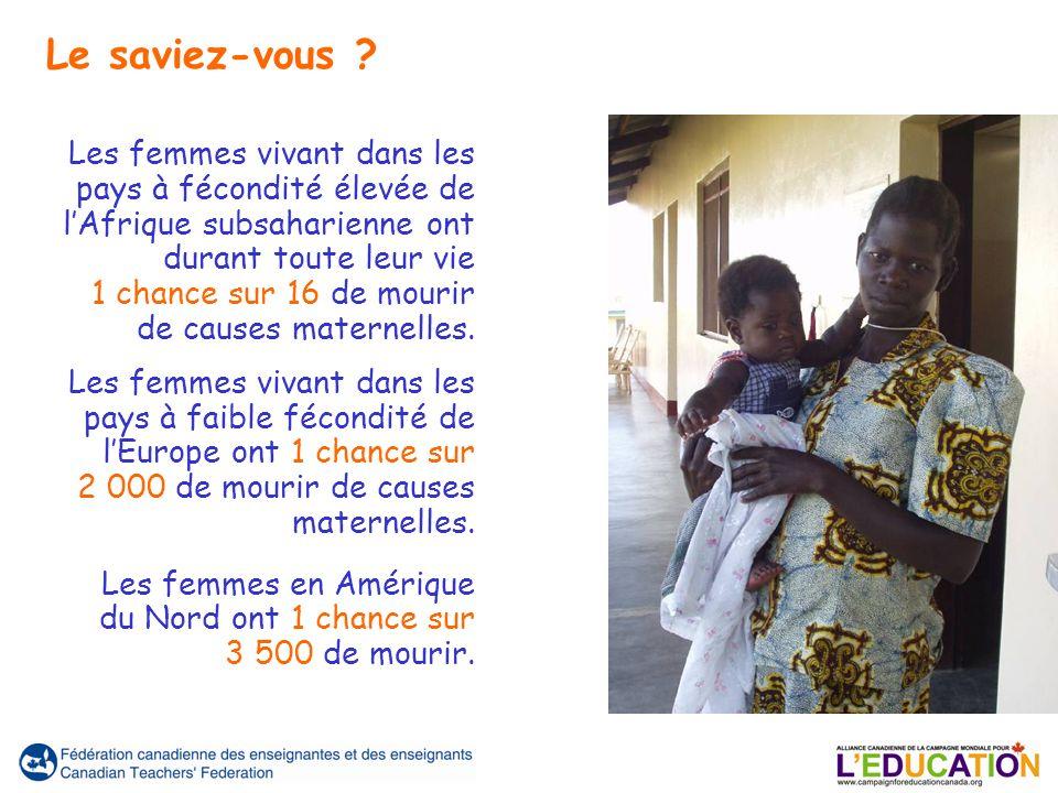 Les femmes vivant dans les pays à fécondité élevée de lAfrique subsaharienne ont durant toute leur vie 1 chance sur 16 de mourir de causes maternelles.