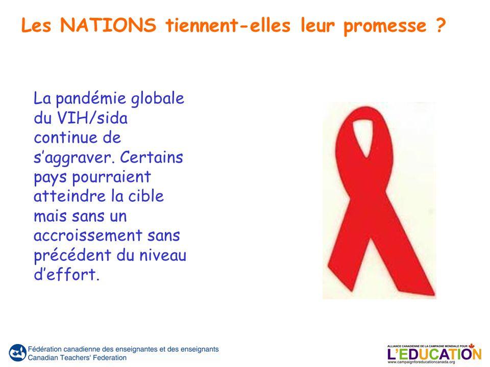 La pandémie globale du VIH/sida continue de saggraver. Certains pays pourraient atteindre la cible mais sans un accroissement sans précédent du niveau