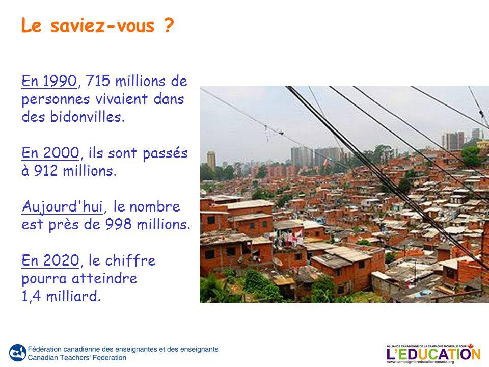 En 1990, 715 millions de personnes vivaient dans des bidonvilles. En 2000, ils sont passés à 912 millions. Aujourd'hui, le nombre est près de 998 mill
