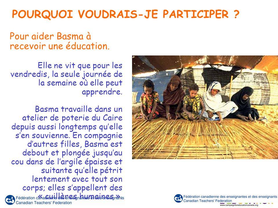 Pour aider Basma à recevoir une éducation. Elle ne vit que pour les vendredis, la seule journée de la semaine où elle peut apprendre. Basma travaille