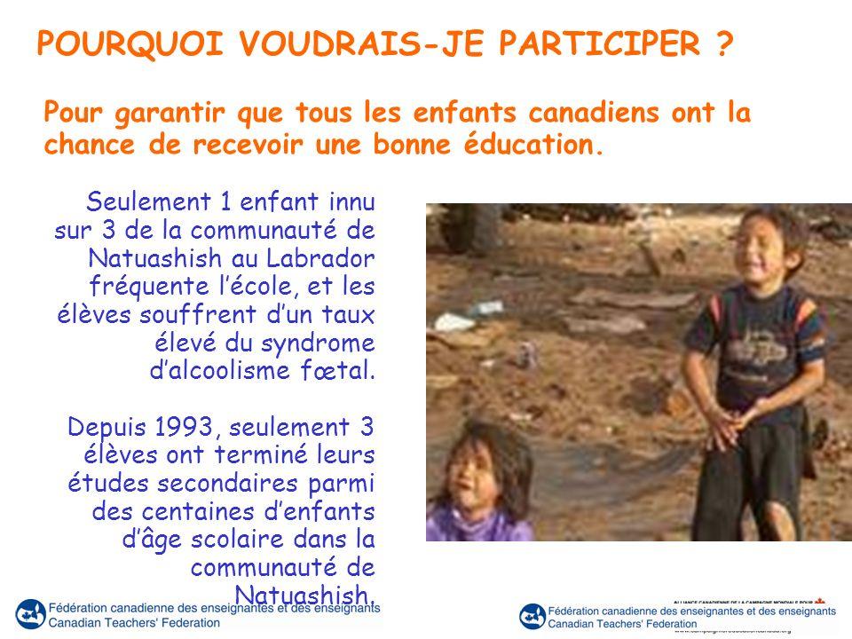 Seulement 1 enfant innu sur 3 de la communauté de Natuashish au Labrador fréquente lécole, et les élèves souffrent dun taux élevé du syndrome dalcoolisme fœtal.