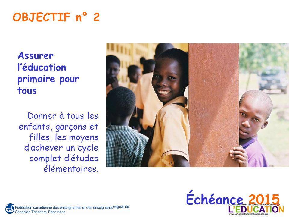 Assurer léducation primaire pour tous Donner à tous les enfants, garçons et filles, les moyens dachever un cycle complet détudes élémentaires. Échéanc