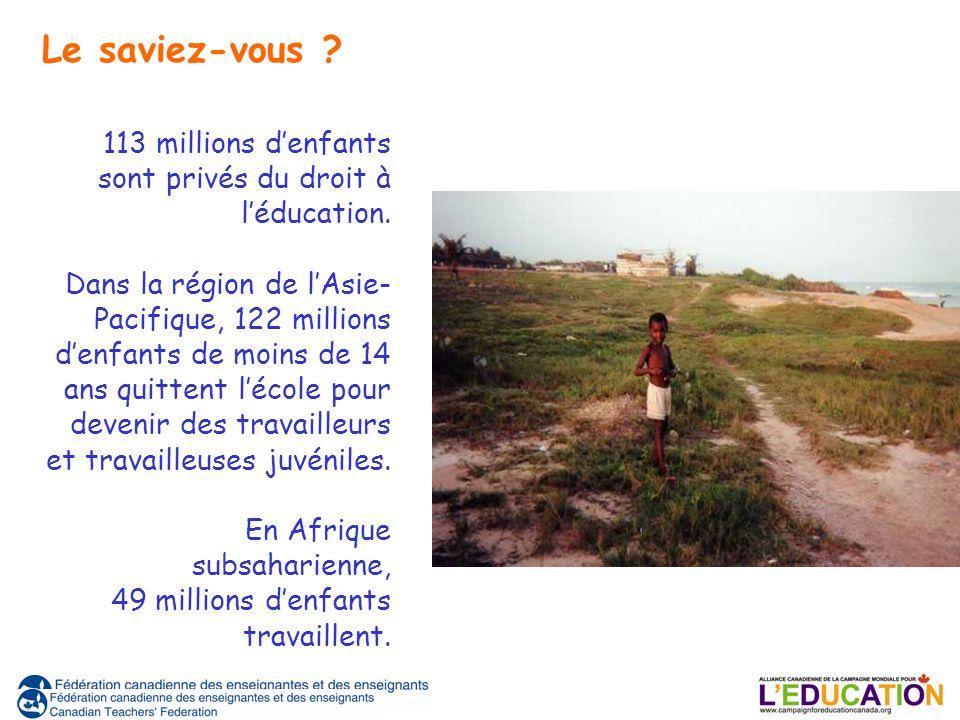 113 millions denfants sont privés du droit à léducation. Dans la région de lAsie- Pacifique, 122 millions denfants de moins de 14 ans quittent lécole