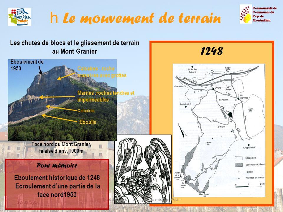h Le mouvement de terrain 13 Les chutes de blocs et le glissement de terrain au Mont Granier 1248 18/05/2014 Claudie Leger - Chargée de mission PCS -