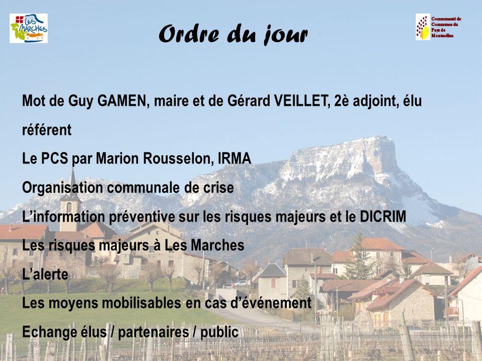 Mot de Guy GAMEN, maire et de Gérard VEILLET, 2è adjoint, élu référent Le PCS par Marion Rousselon, IRMA Organisation communale de crise Linformation
