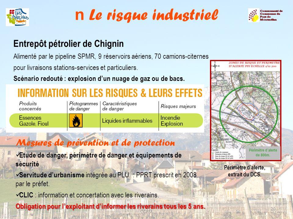 n Le risque industriel 18/05/201420 Claudie Leger - Chargée de mission PCS - CCPM Périmètre dalerte de 800m. Entrepôt pétrolier de Chignin Alimenté pa