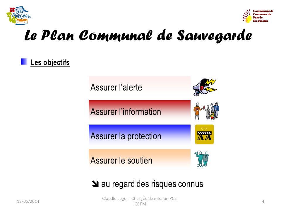 Le Plan Communal de Sauvegarde 18/05/20144 Claudie Leger - Chargée de mission PCS - CCPM Les objectifs au regard des risques connus Assurer lalerte As