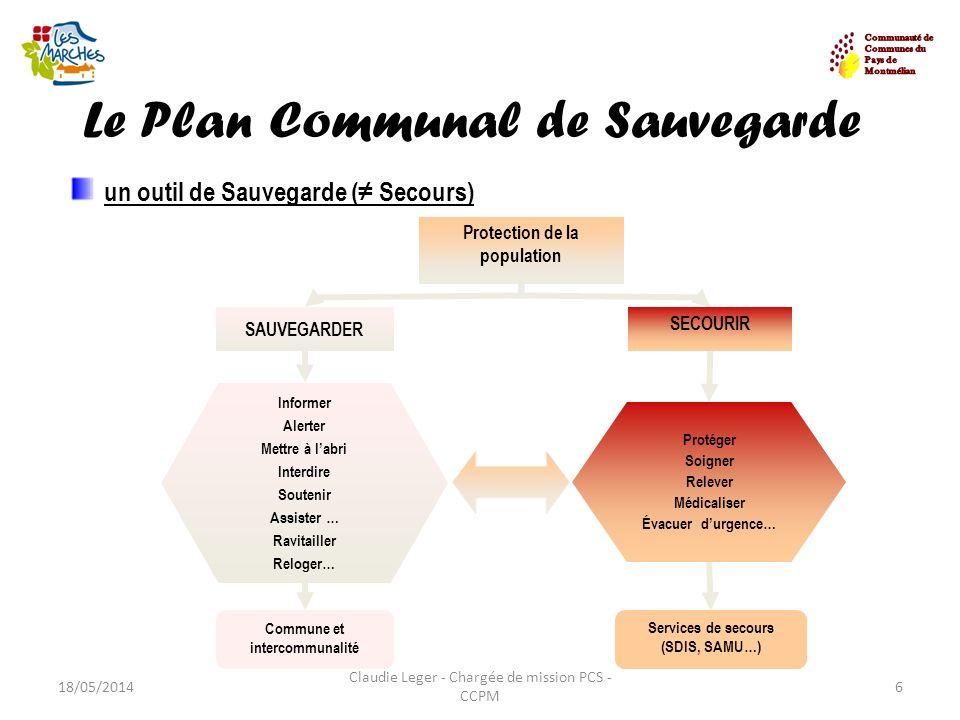 Le Plan Communal de Sauvegarde 18/05/20146 Claudie Leger - Chargée de mission PCS - CCPM un outil de Sauvegarde ( Secours) Protection de la population