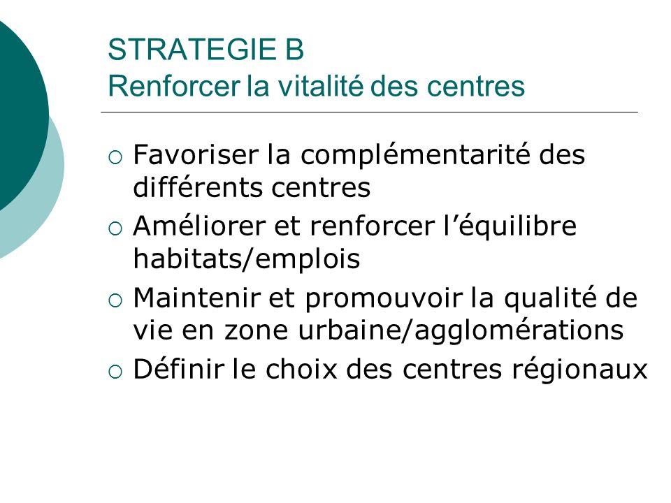 STRATEGIE B Renforcer la vitalité des centres Favoriser la complémentarité des différents centres Améliorer et renforcer léquilibre habitats/emplois Maintenir et promouvoir la qualité de vie en zone urbaine/agglomérations Définir le choix des centres régionaux
