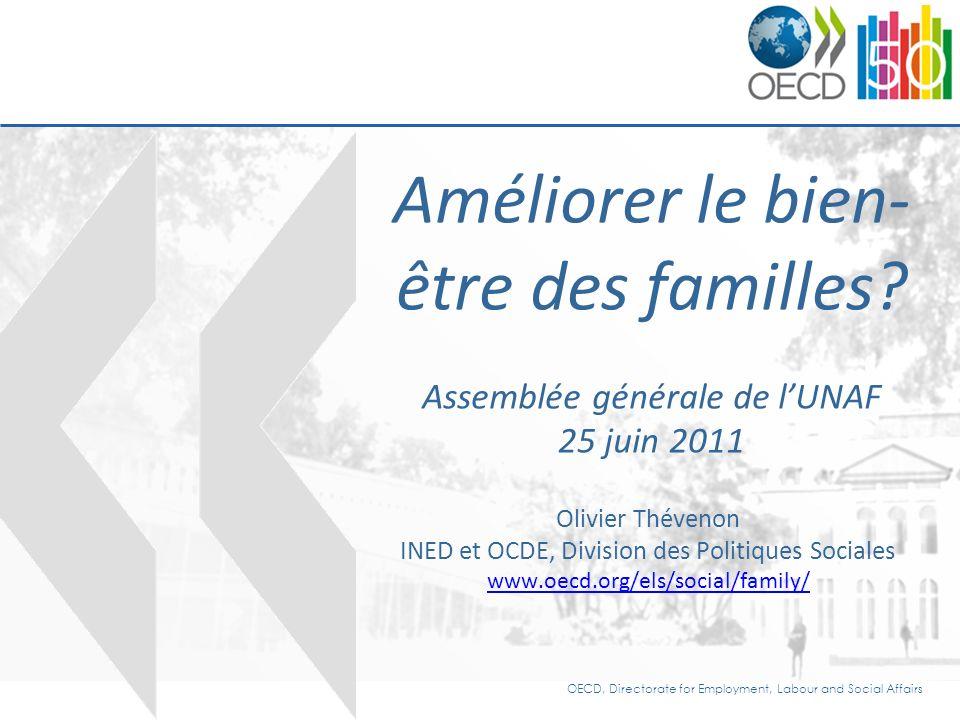 OECD, Directorate for Employment, Labour and Social Affairs Améliorer le bien- être des familles.