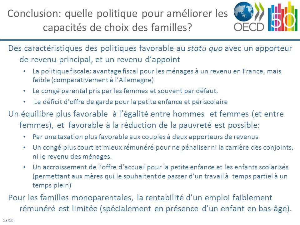 26/20 Conclusion: quelle politique pour améliorer les capacités de choix des familles.