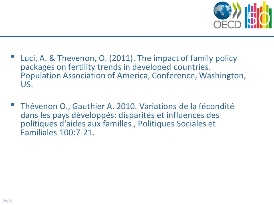 28/20 Luci, A. & Thevenon, O. (2011). The impact of family policy packages on fertility trends in developed countries. Population Association of Ameri