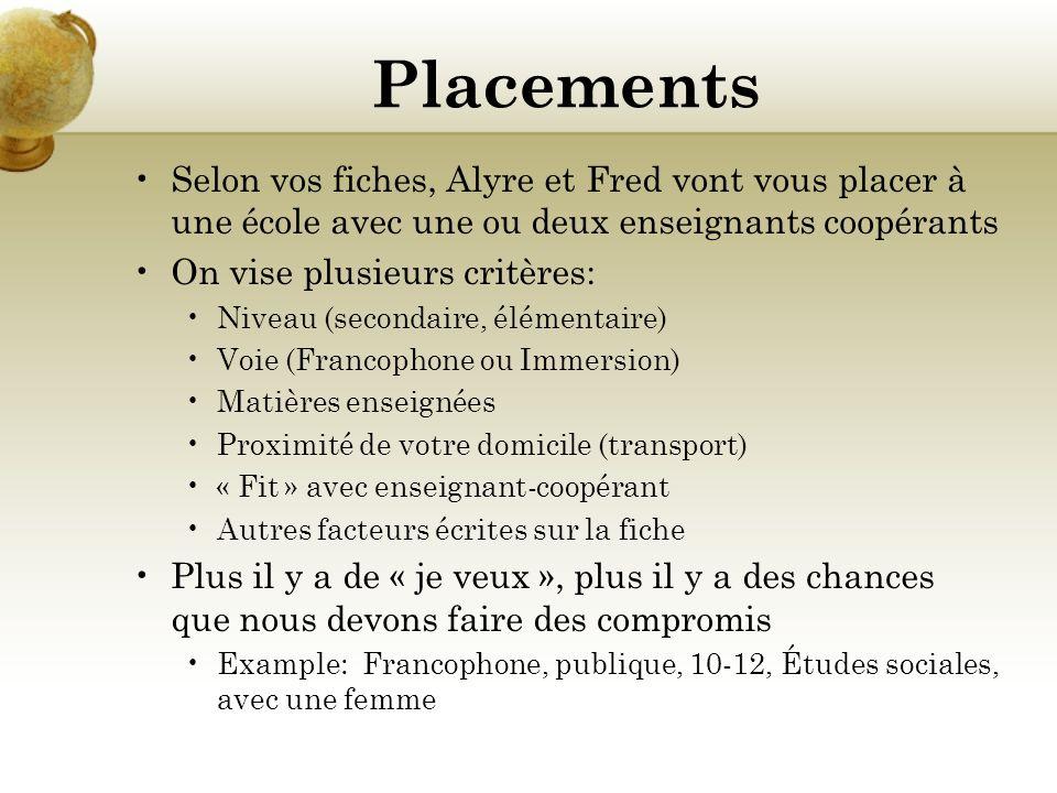 Placements Selon vos fiches, Alyre et Fred vont vous placer à une école avec une ou deux enseignants coopérants On vise plusieurs critères: Niveau (secondaire, élémentaire) Voie (Francophone ou Immersion) Matières enseignées Proximité de votre domicile (transport) « Fit » avec enseignant-coopérant Autres facteurs écrites sur la fiche Plus il y a de « je veux », plus il y a des chances que nous devons faire des compromis Example: Francophone, publique, 10-12, Études sociales, avec une femme