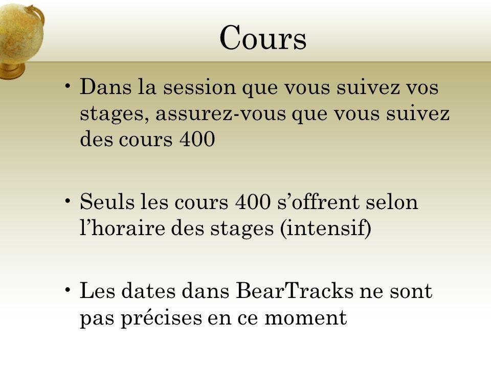 Cours Dans la session que vous suivez vos stages, assurez-vous que vous suivez des cours 400 Seuls les cours 400 soffrent selon lhoraire des stages (intensif) Les dates dans BearTracks ne sont pas précises en ce moment
