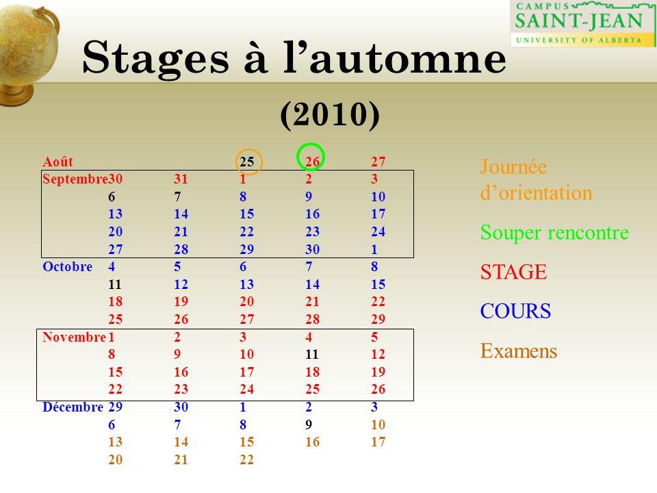 Stages à lautomne (2010) Août 252627 Septembre3031123 678910 1314151617 2021222324 272829301 Octobre45678 1112131415 1819202122 2526272829 Novembre12345 89101112 1516171819 2223242526 Décembre2930123 678910 1314151617 202122 Journée dorientation Souper rencontre STAGE COURS Examens