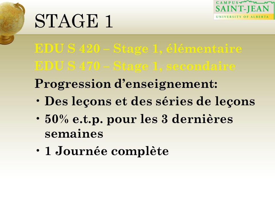 STAGE 1 EDU S 420 – Stage 1, élémentaire EDU S 470 – Stage 1, secondaire Progression denseignement: Des leçons et des séries de leçons 50% e.t.p. pour