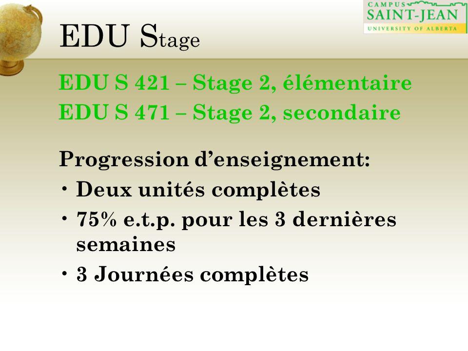 EDU S tage EDU S 421 – Stage 2, élémentaire EDU S 471 – Stage 2, secondaire Progression denseignement: Deux unités complètes 75% e.t.p. pour les 3 der