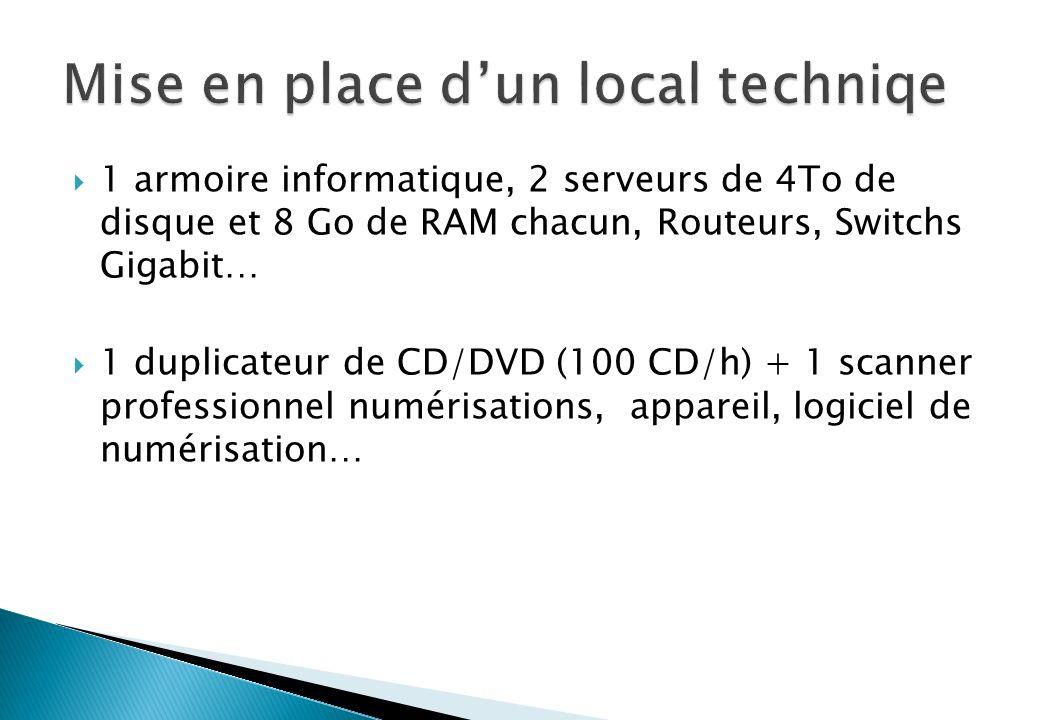 1 armoire informatique, 2 serveurs de 4To de disque et 8 Go de RAM chacun, Routeurs, Switchs Gigabit… 1 duplicateur de CD/DVD (100 CD/h) + 1 scanner professionnel numérisations, appareil, logiciel de numérisation…