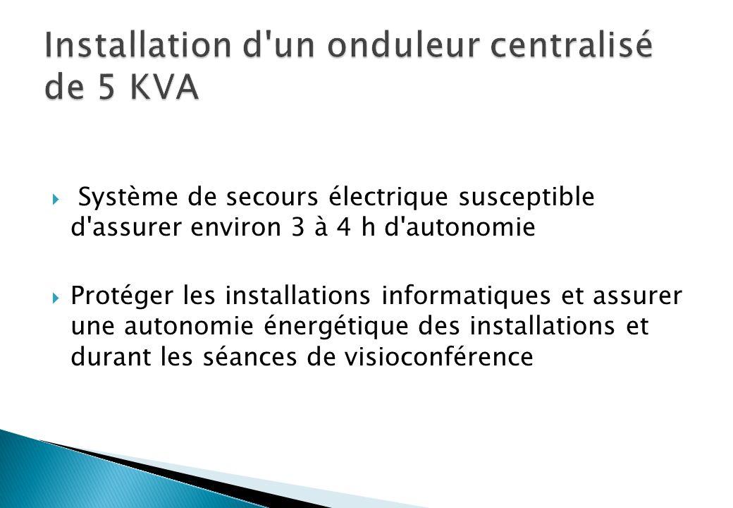 Système de secours électrique susceptible d assurer environ 3 à 4 h d autonomie Protéger les installations informatiques et assurer une autonomie énergétique des installations et durant les séances de visioconférence