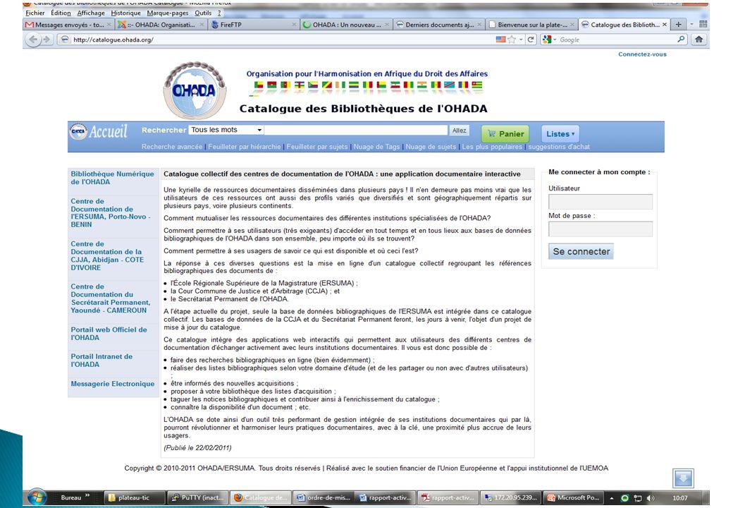 L ERSUMA s est dotée d une nouvelle salle informatique équipée dune vingtaine de PC Mise en place du réseau WIFI au sein de l ERSUMA.